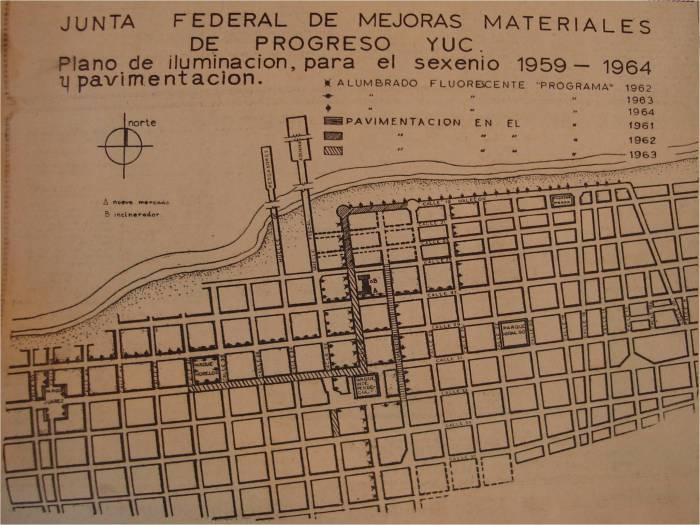 Plano de iluminación y pavimentación para el sexenio 1959-1964