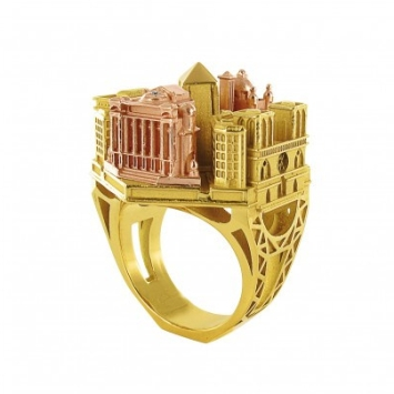 BAGUE ARCHITECTURE PARIS EN OR TOURNAIRE