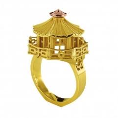 CHINESE PAGODA ARCHITECTURE RING