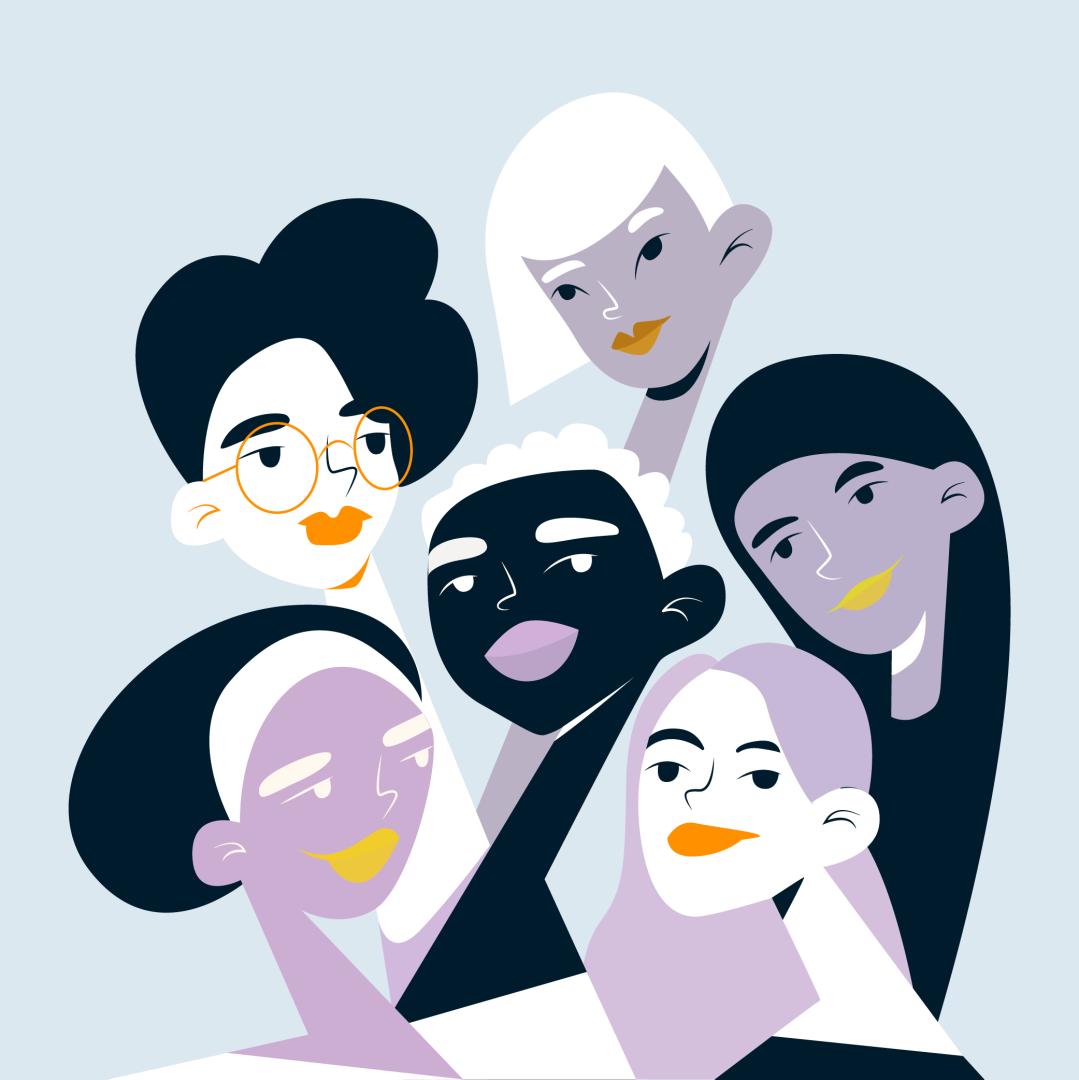 Interracial group women background, Ileana.png